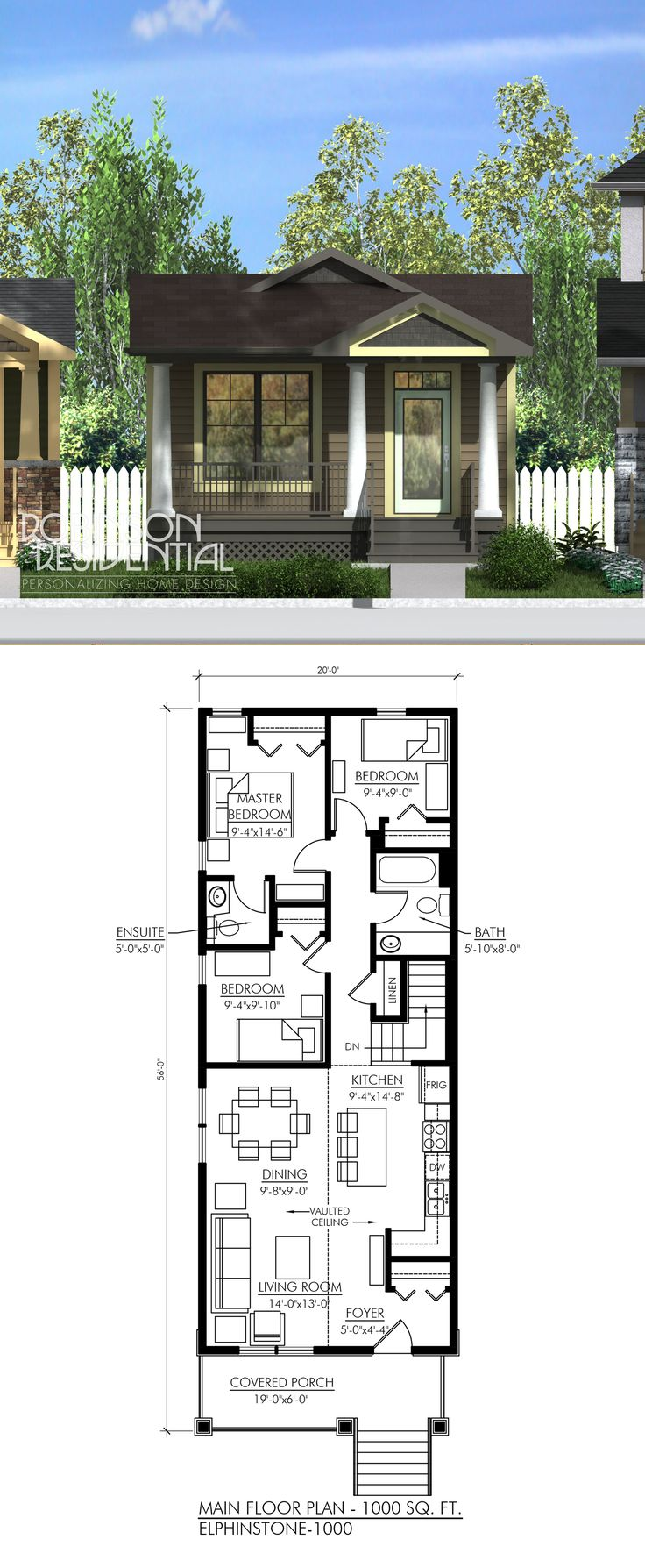 1000 sq. ft, 3 bedrooms, 1.5 bath. I like the front part of the house but I would remove the third bedroom and enlarge the master bath and closet.