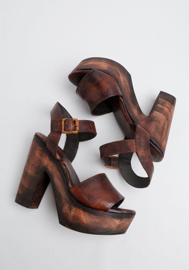 wood platform heels