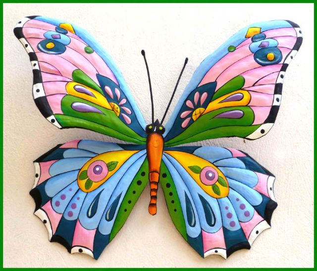 "Metal Butterfly Art - Hand Painted Metal Wall Hanging - Pink Blue 24"" - See more tropical designs at www.TropicAccents.com"