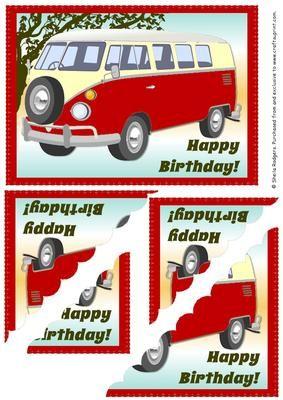 Scallop Corner Red Camper Van on Craftsuprint - Add To Basket!