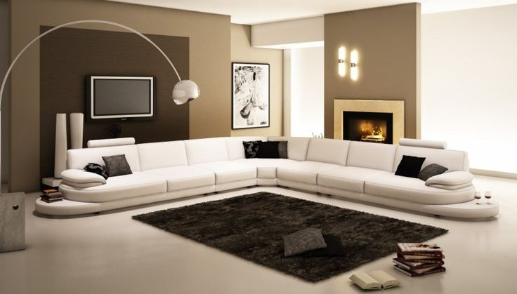 Inspiring Contemporary Sofas with Various Styles: Astonishing Modern Living Room Design With White Colored Contemporary Sofa And Silver Arch Lamp Made From Stainless Steel ~ DizajnMaker Furniture Inspiration