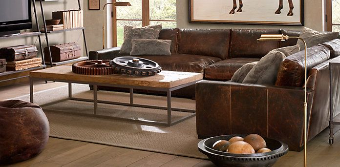Man Cave  Really Loving The Worn Out Look  Maxwell Leather Sectionals | Restoration  Hardware | Maison | Pinterest | Leather Sectionals, Restoration Hardware ...