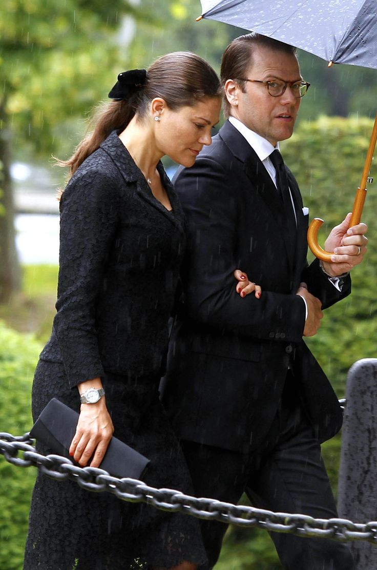 Crown Princess Victoria and Prince Daniel of Sweden attend the funeral of Countess Alice of Trolle-Wachtmeister n 12 July 2017