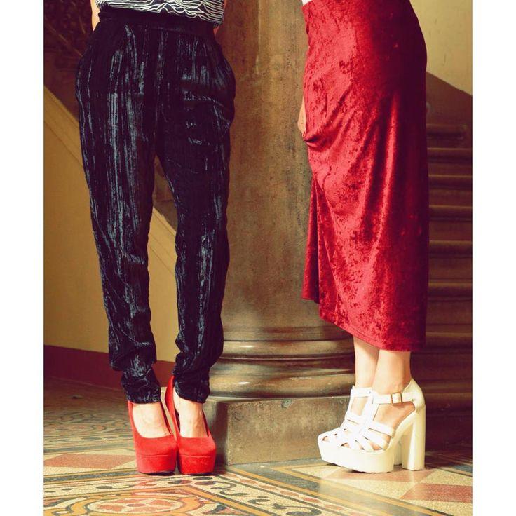 Velvet touch.  Vintage velvet trousers and skirts in stores   #szputnyikshop #szputnyik   red velvet 90s style elegant look