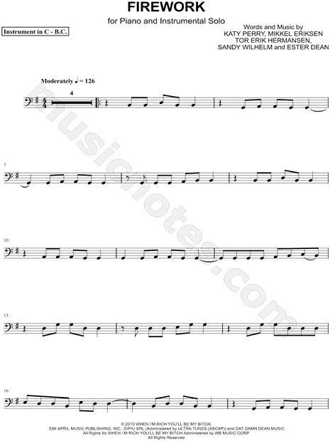 "Katy Perry ""Firework - Bass Clef Instrument"" Sheet Music (Cello, Trombone, Bassoon, Baritone Horn or Double Bass) - Download & Print"