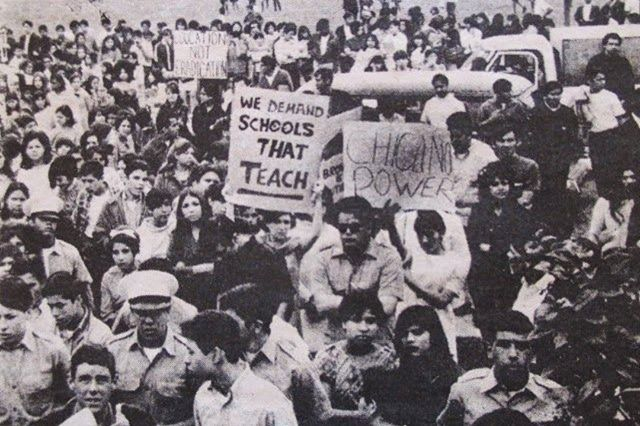 On this day 1 March 1968 Chicano high school students in East Los Angeles ignited a week of walkouts across the city numbering at approximately 15000 students from 7 or more different high school. Their goals were to get more Latino teachers in their schools and to change textbooks so they included Mexican-American history. Chicano students were not allowed to speak Spanish in class and were often discouraged from applying to college by guidance counselors and teachers. The dropout rate for…