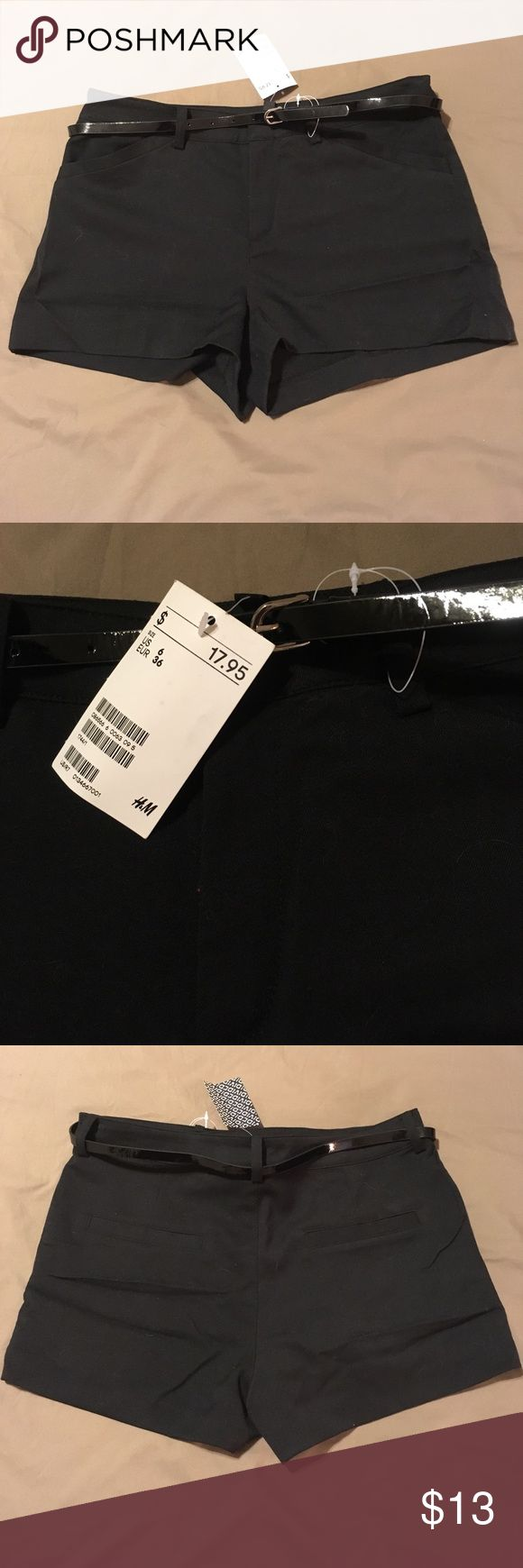 NWT H&M Divided brand Belted Shorts Brand new with tags! H&M black polyester shorts with patent black belt, perfect for dressing up or down! Size 6, orig. price was $17.95 H&M Shorts