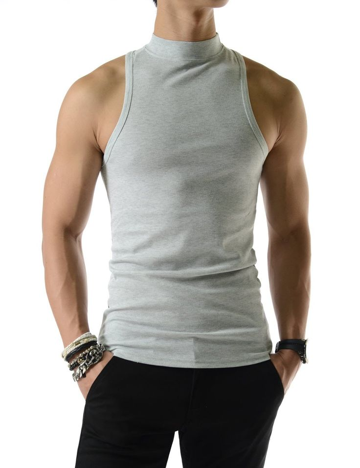 Mens Slim Fit Sexy High Neck Tank Top 100% Cotton