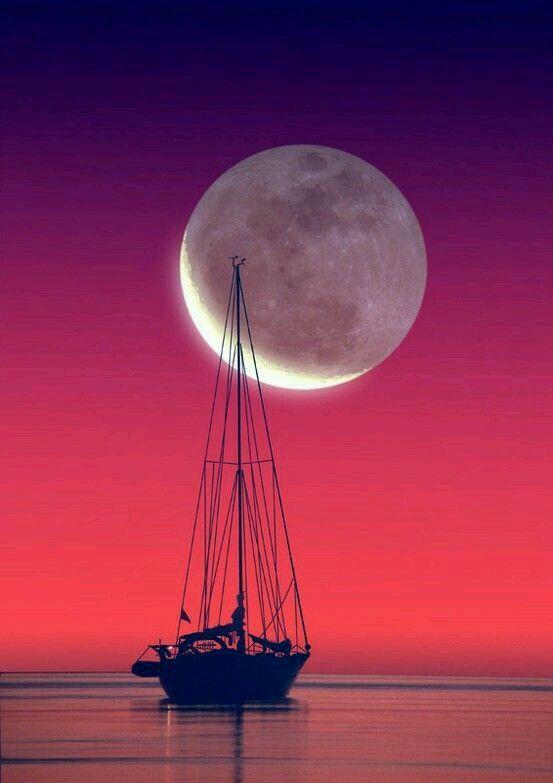 Sunrise greeting the moonlit night