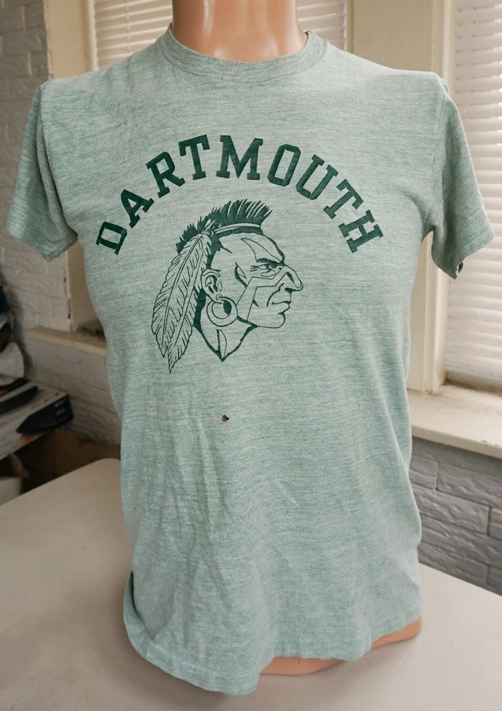 vintage DARTMOUTH INDIANS T SHIRT 70s College Big Green