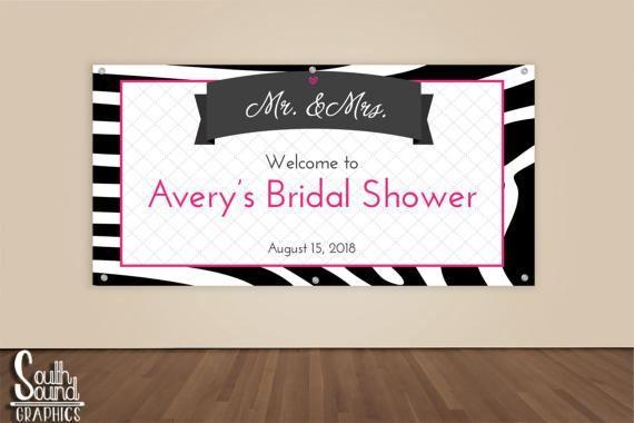 Bridal Shower Banner - Custom Hot Pink Zebra Wedding Shower Photo Backdrop - Mr. & Mrs. Wedding Banner Sign - Bridal Shower Vinyl Backdrop