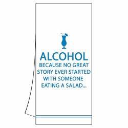 Alcohol Story Kitchen Towel 18″ X 26″ (unfolded) 100 % Cotton Machine Washable Item # 35082 #guest #towel #cotton #fun #drink #alcohol #joke #style #event