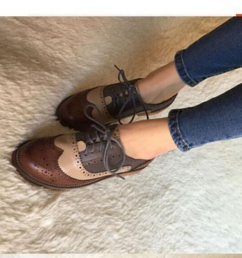 Vintage Oxfords Womens Leather Low Heels Brogues Wingtip Lace Up Dress Shoes
