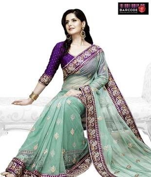 Designer Wear Sea Green And Purple Net-Raw Silk Saree http://www.snapdeal.com/product/women-apparel-sarees/DesignerWe-86814?pos=3;1219?utm_source=Fbpost_campaign=Delhi_content=189185_medium=180512_term=Prod