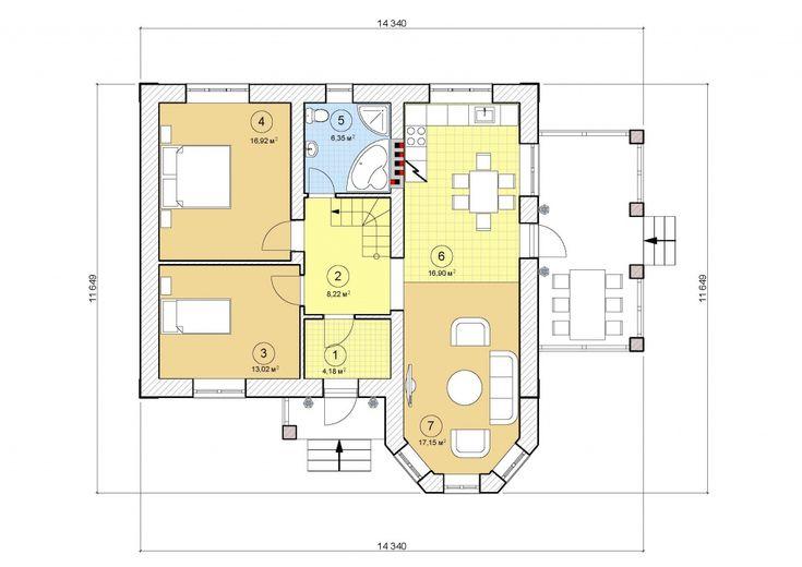Проект одноэтажного дома, 82,73 м2 | Проекты домов в Белгороде
