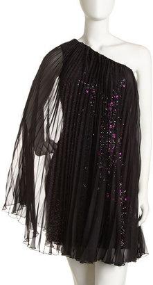 Mark + James by Badgley Mischka One-Shoulder Plisse Dress. On sale now.  Black plisse chiffon with pink scattered sequins.