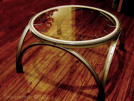 bicycle rims coffee table