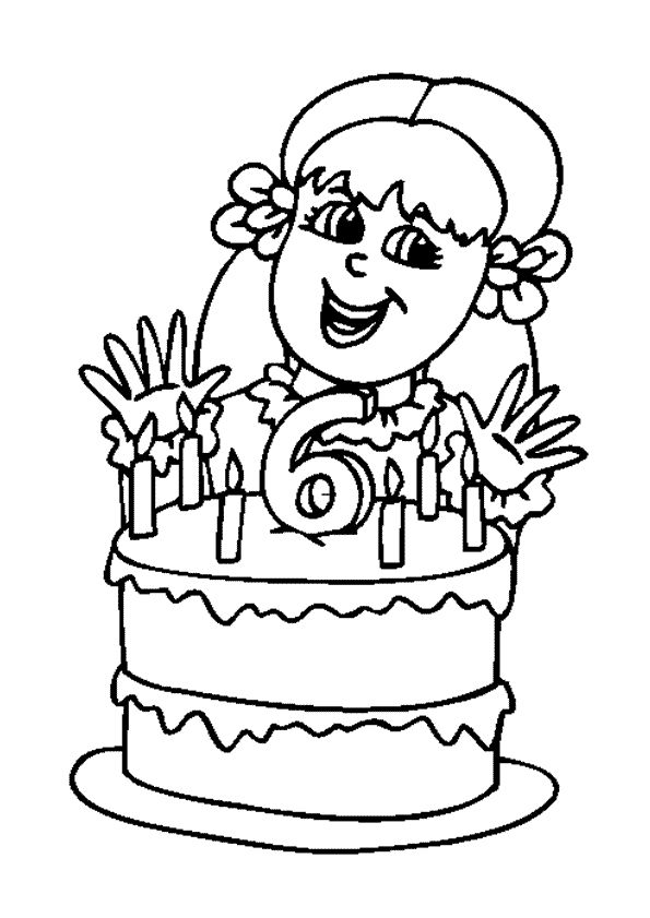 Coloriage de la photo de la fille devant son gâteau d'anniversaire