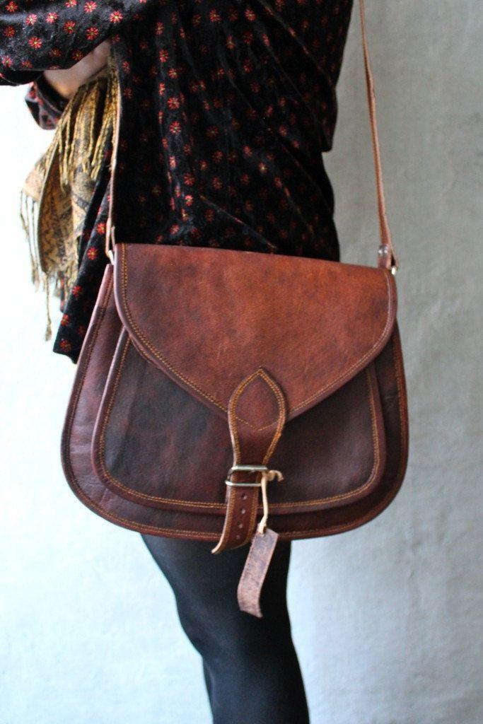 Leather Cross body messenger bag  via Etsy.