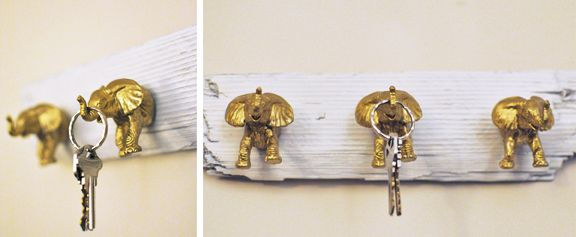 Use plastic toy elephants and paint them gold or red to have a fun key hanger! Need to do this!