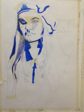 Inadequate Self-Portrait Blue Biro on A1 Cartridge Paper with Masking Tape - Chelsie Cater-Tooby