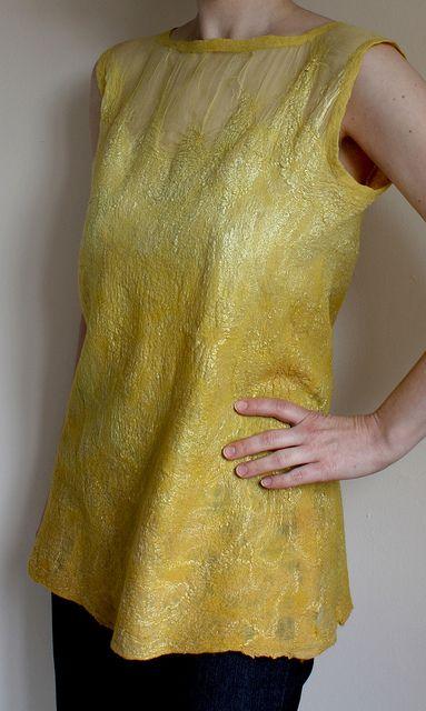 Amarelo, nunofelted tunic top