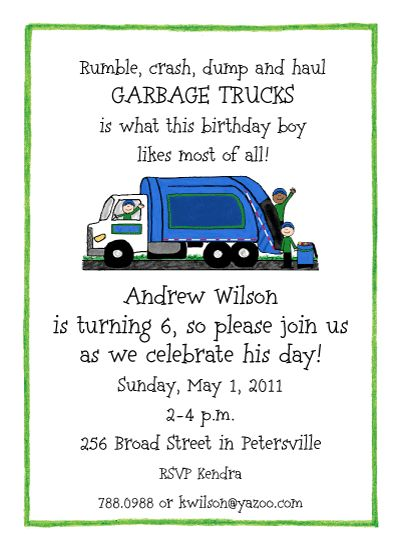 Garbage Truck Party Invitation-  A blue and green garbage truck rumbles by on this party invitation for boys. Personalize with your own text!
