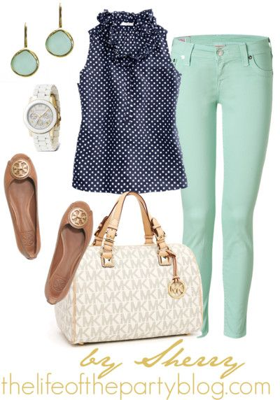These mint pants are perfect for spring (would love a pair of mint bottoms). A flirty polka dot top and killer accessories dress it up a bit.