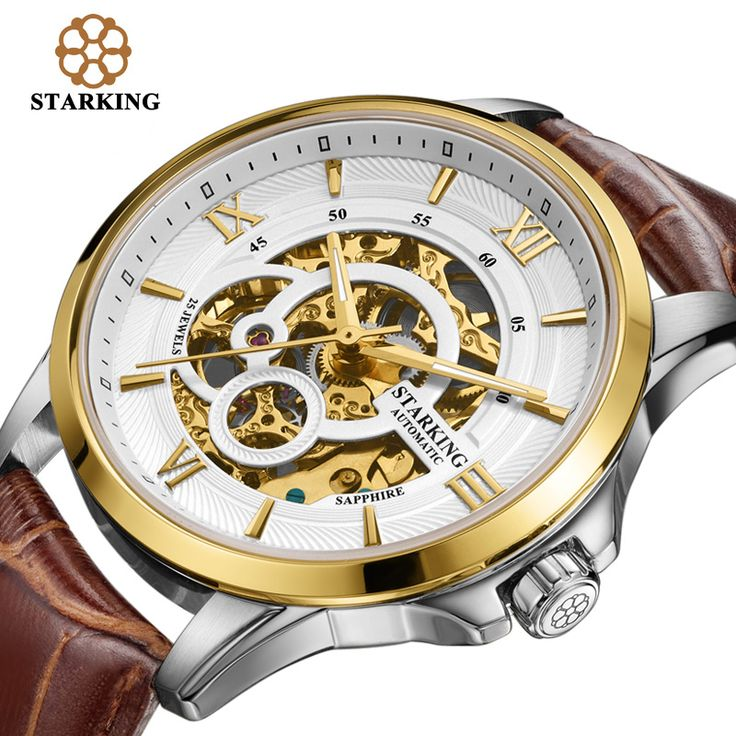StarKing Designer Watches Men Automatic Mechanical Hollow Gold Watch Leather Luminous Business Watch AM0182 moda hombre relojes-in Mechanical Watches from Watches on Aliexpress.com | Alibaba Group