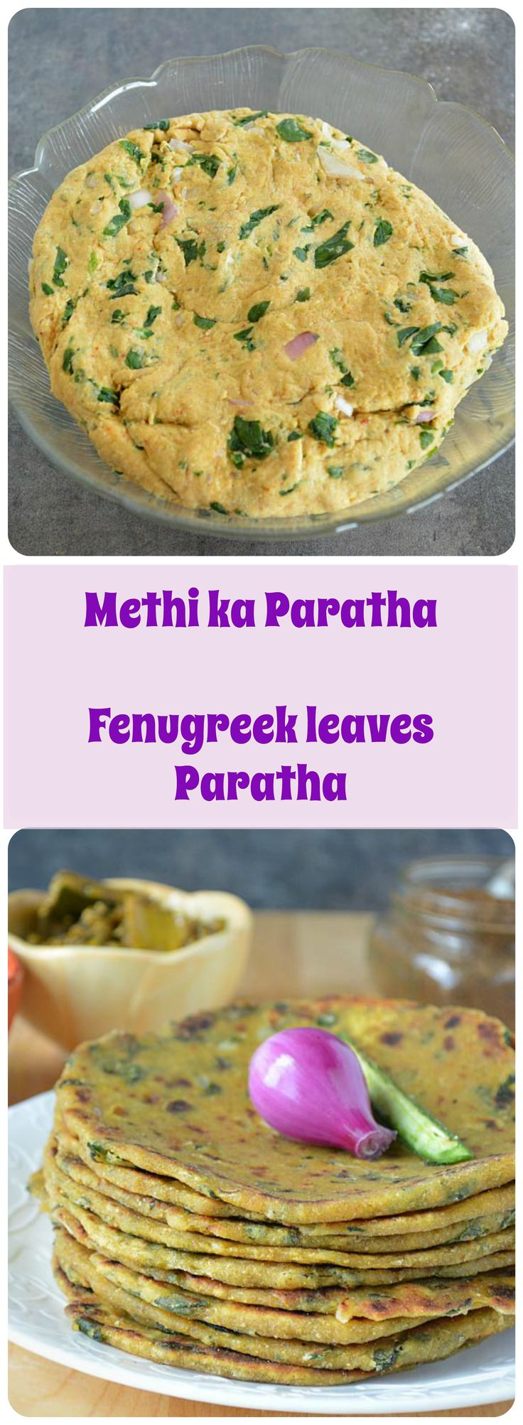 A healthy breakfast today – Methi Paratha Recipe. Coarsely chopped fenugreek leaves combined with wheat flour, semolina and spices creates a healthy and nutritious morning breakfast. #wholewheatflour #methi #methileaves #fenugreekleaves #paratha #thepla #methithepla #indianfoods #indianbreakfast