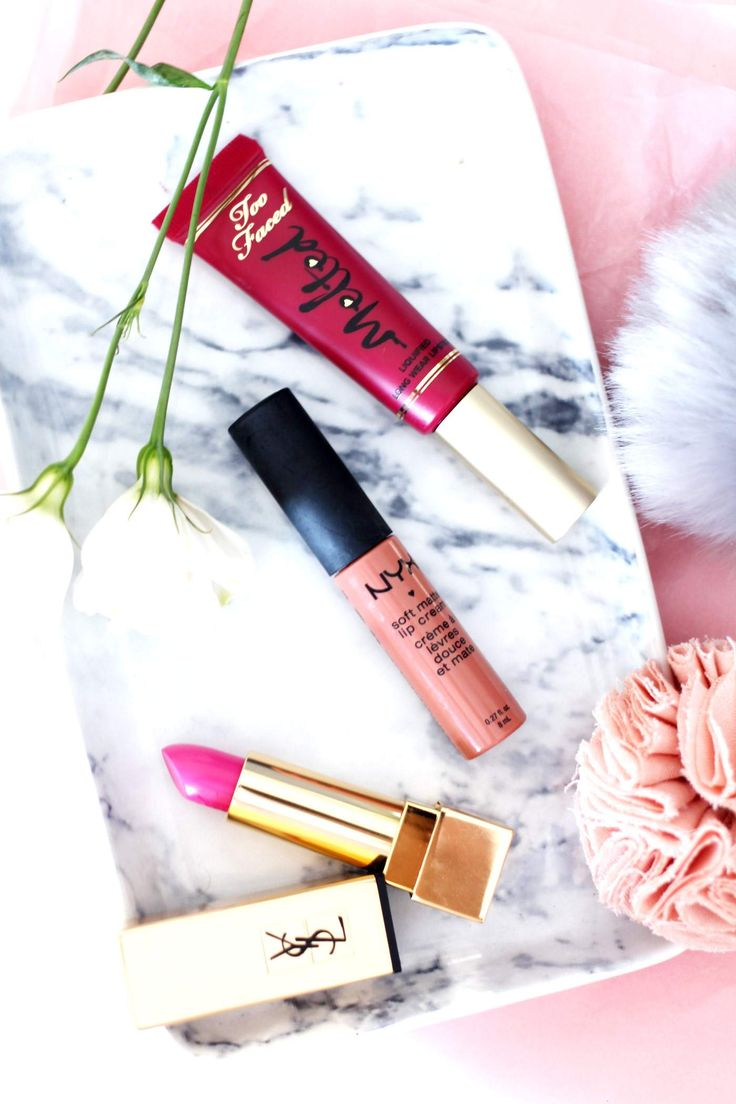 three-pink-lipsticks-YSL-27-too-faced-melted-berry-nyx-amsterdam