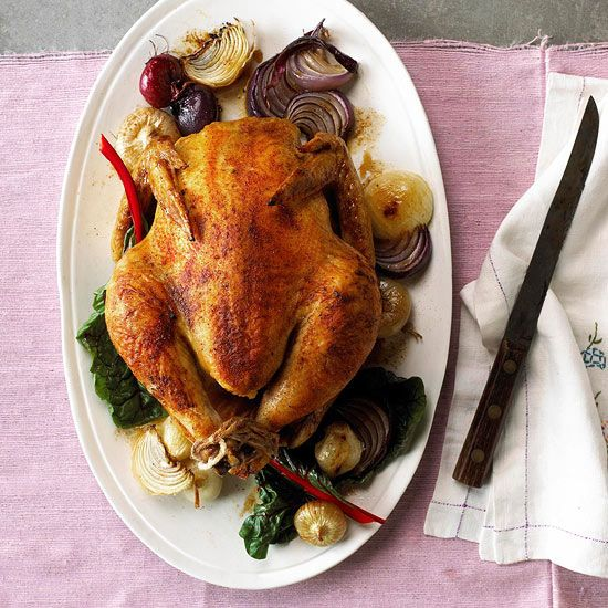 Roast chicken is juicy and delicious.