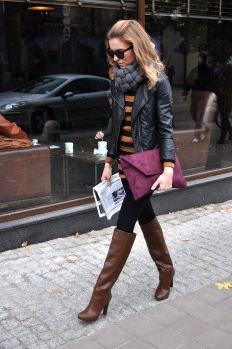 brown boots, leggings, striped shirt, leather jacket w/ scarf