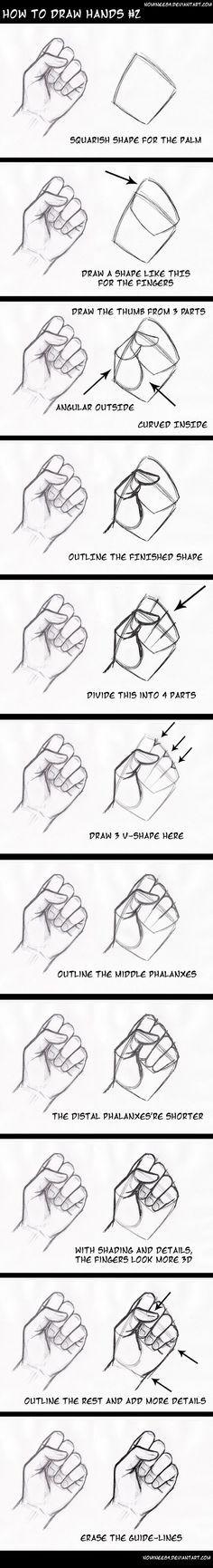 how to draw hands2 by nominee84 on DeviantArt. Es muy interesante. Mas tarde hare esta idea. Ya que nunca me salen bien las manos.