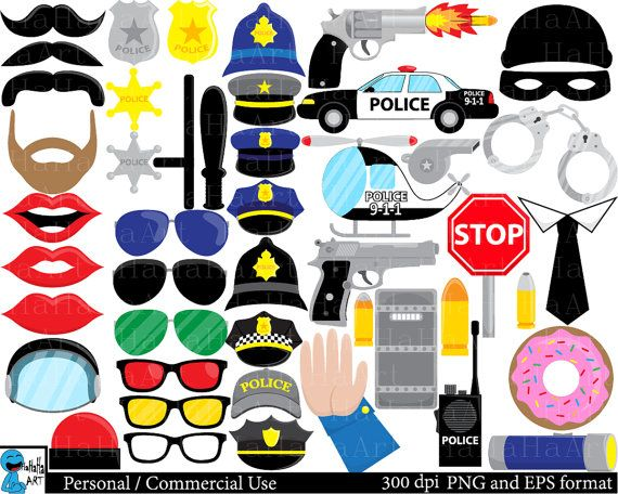 Police Props  Set Clipart  Digital Clip Art Graphics by HaHaHaArt