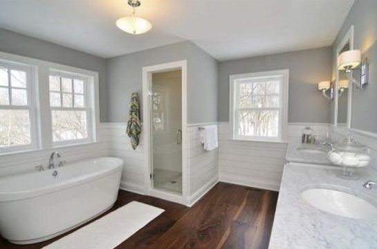 Bathroom white wainscot grey walls gray walls wide for Bathrooms with wainscoting photos