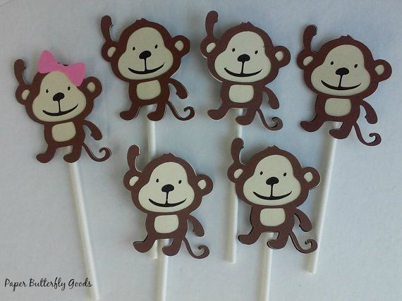 Monkey Cupcake Toppers Girly Monkey Cupcake by ButterflyPaperGoods