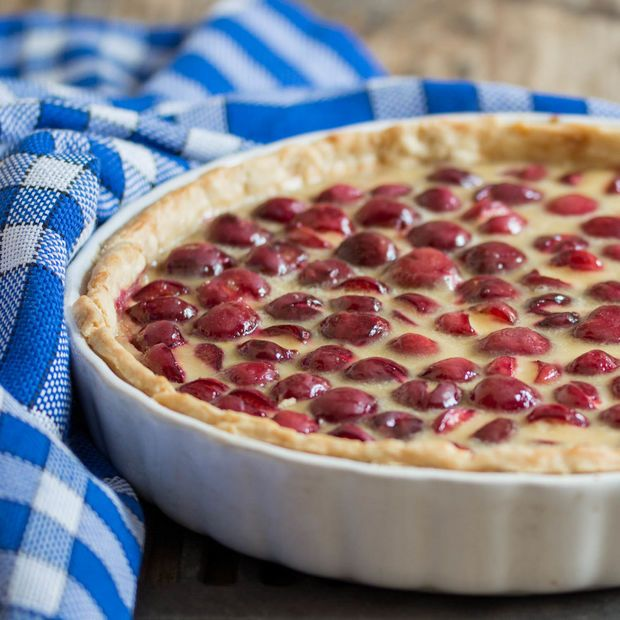 Cherry tart is a delicious dessert which can be made all year round.This divine tart has a sugarless flaky crust filled with coffee glazed fresh cherries and a...