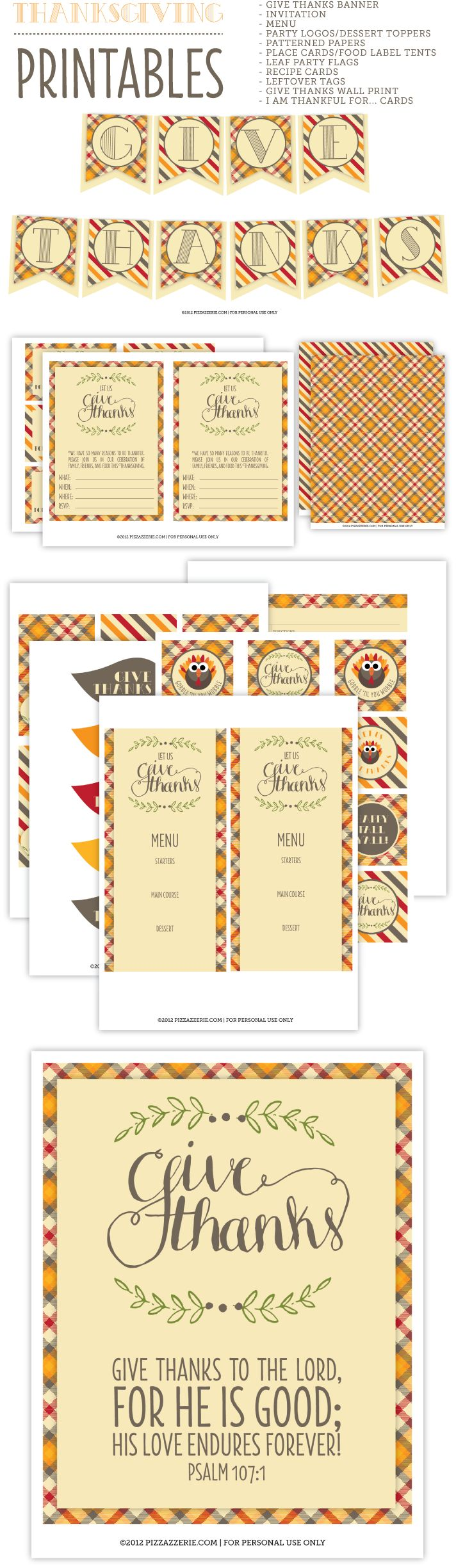 Craft a Fabulous Thanksgiving {Free Download} on http://pizzazzerie.com - Give Thanks To The Lord For He Is Good!
