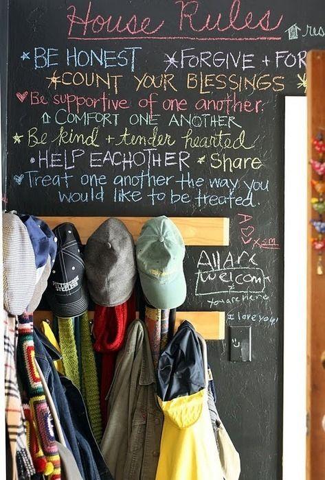 love chalkboard wallsMudroom, Chalkboards Painting, Mud Room, Chalk Boards, House Rules, Blackboard Painting, The Rules, Chalkboards Wall, Laundry Room