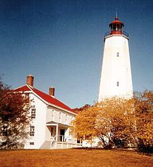 Sandy Hook Light, New Jersy 1 1/2 miles inland. Oldest working light in US