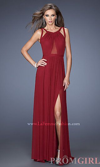 Floor Length Sleeveless Dress with Cut Out Back by La Femme at PromGirl.com #LF-20092W