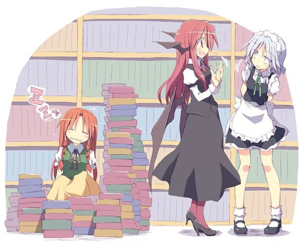 not patchouli but her books shielding a sleepy meiling 東方 かわいい 面白いイラスト イラスト