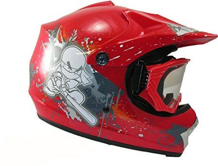 Qtech Kids Childrens Motocross Ninja Helmet & Goggles Off Road RED, Size: MEDIUM 55-56 cm: Amazon.co.uk: Car & Motorbike  £39.95