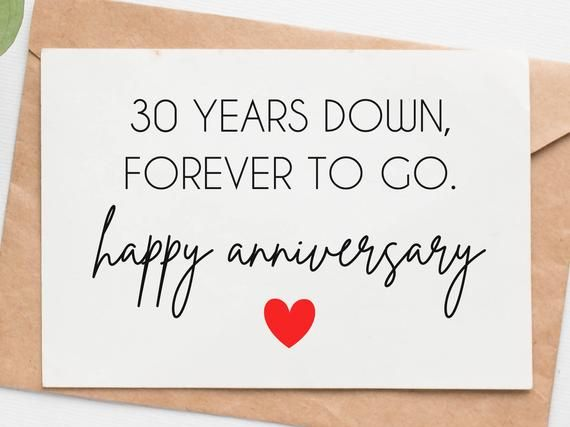 30th Wedding Anniversary Card For Husband Wife 30 Year Etsy In 2021 Anniversary Cards For Husband Wedding Anniversary Cards Anniversary Wishes For Husband