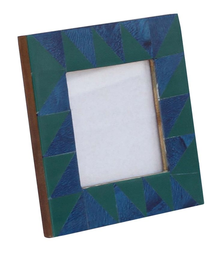 Bulk Wholesale Handmade Wooden Photo Frame in Green & Blue Color with Geometric Patterns – Decorative Picture Stands for Living Rooms / Bedrooms / Lounges – Home Décor