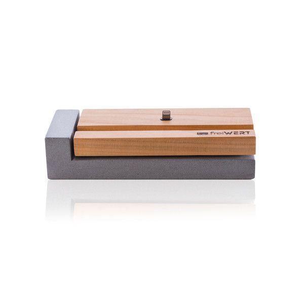 Handy-Zubehör - Ladestation für iPhone aus Holz und Beton - ein Designerstück von freiWERT bei DaWanda
