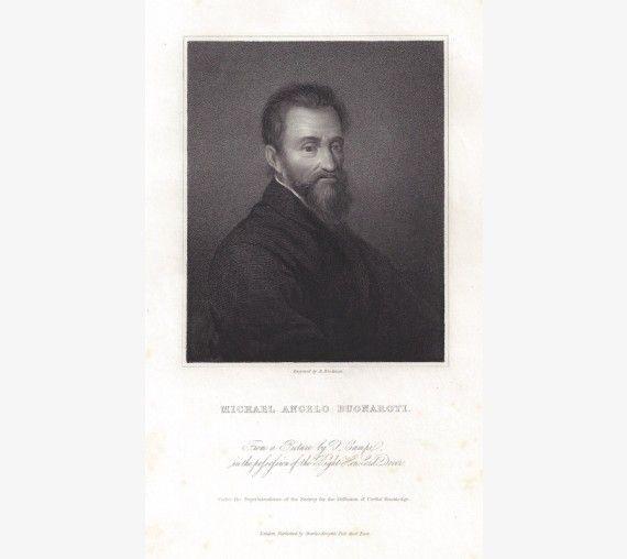 Michaelangelo portrait engraving print artist Campi