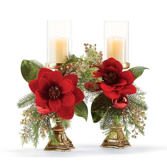 Dark green magnolia leaves with undersides of amber brown catch the eye and set off an assortment of rich gold, red and green trimmings in the spectacular Holiday Predecorated Candlesticks. Lifelike sprays of spruce, cedar and feathery pine needles bring depth and texture, while bold red magnolia blossoms, handcrafted glass ornaments and golden berries add holiday cheer.                    Arrives expertly assembled                         Each candlestick holds a 3 pillar candle (sold s...