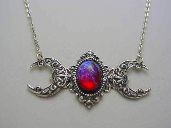 Triple Moon Goddess Dragons Breath Mexican Opal Gemstone Sterling Silver Oxidized Finish Necklace